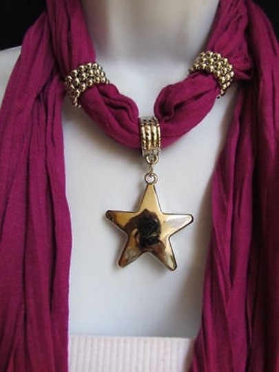 Other Women Magenta Fashion Soft Scarf Necklace Big Silver Christmas Star Pendant Image 5