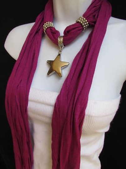 Other Women Magenta Fashion Soft Scarf Necklace Big Silver Christmas Star Pendant Image 6