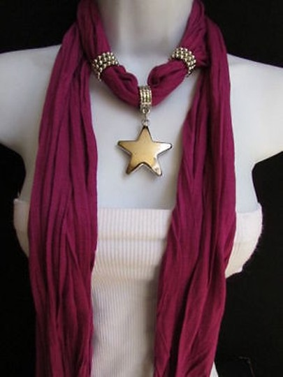 Other Women Magenta Fashion Soft Scarf Necklace Big Silver Christmas Star Pendant Image 7