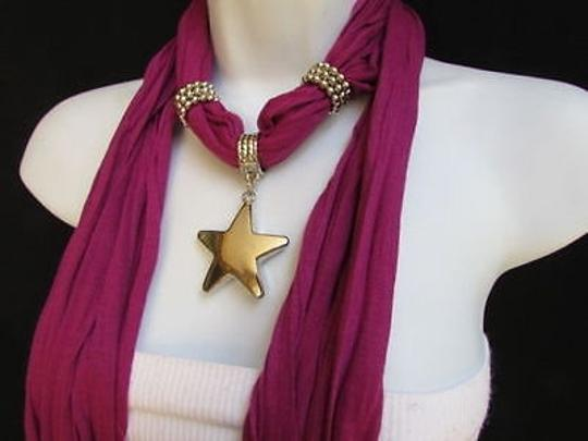 Other Women Magenta Fashion Soft Scarf Necklace Big Silver Christmas Star Pendant Image 8
