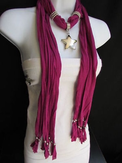 Other Women Magenta Fashion Soft Scarf Necklace Big Silver Christmas Star Pendant Image 9