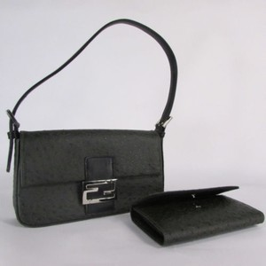 Other Dark Gray Faux Ostrich Handbag Matching Wallet Green Clutch