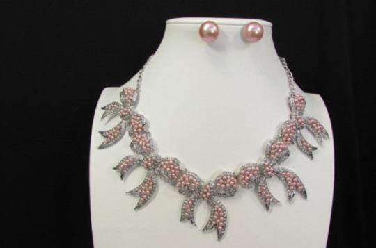 Other Fashion Women Necklace Charms Pink Bows Imitation Pearl Beads Statements