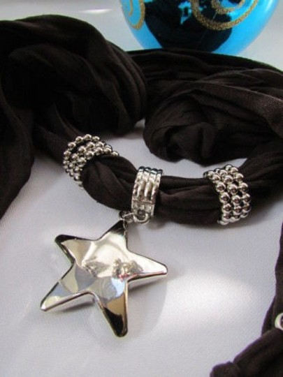 Other Women Dark Brown Fashion Soft Scarf Necklace Big Silver Star Pendant Image 1