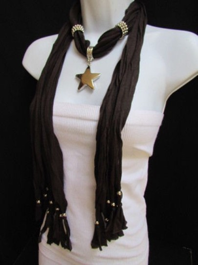 Other Women Dark Brown Fashion Soft Scarf Necklace Big Silver Star Pendant Image 10