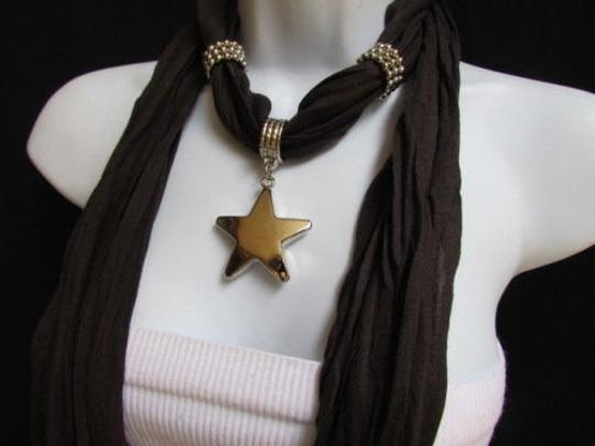 Other Women Dark Brown Fashion Soft Scarf Necklace Big Silver Star Pendant