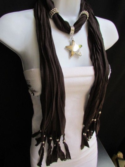 Other Women Dark Brown Fashion Soft Scarf Necklace Big Silver Star Pendant Image 2