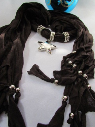 Other Women Dark Brown Fashion Soft Scarf Necklace Big Silver Star Pendant Image 3