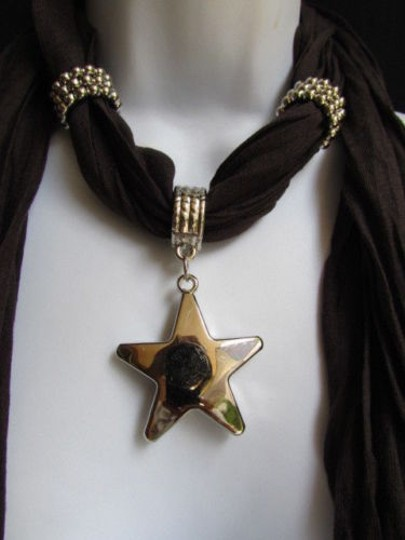 Other Women Dark Brown Fashion Soft Scarf Necklace Big Silver Star Pendant Image 4