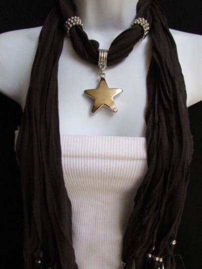 Other Women Dark Brown Fashion Soft Scarf Necklace Big Silver Star Pendant Image 5