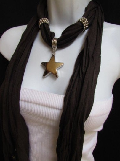 Other Women Dark Brown Fashion Soft Scarf Necklace Big Silver Star Pendant Image 6