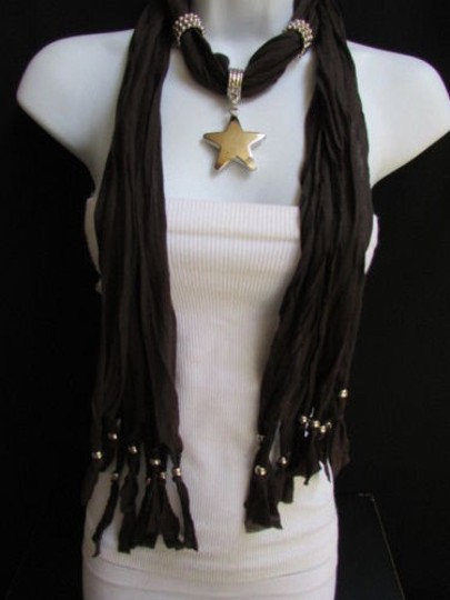 Other Women Dark Brown Fashion Soft Scarf Necklace Big Silver Star Pendant Image 8