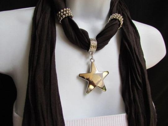 Other Women Dark Brown Fashion Soft Scarf Necklace Big Silver Star Pendant Image 9