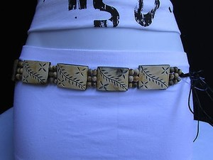 Women Carved Leaves Beige Wood Plates Fashion Black Tie Belt 26-36
