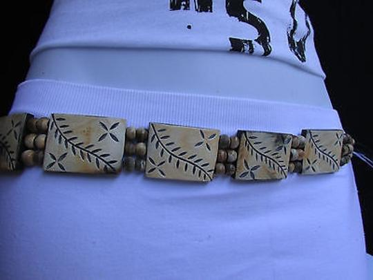 Other Women Carved Leaves Beige Wood Plates Fashion Black Tie Belt 26-36