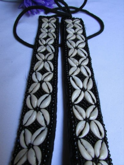 Other Women Big Seashells Tahitian Fashion Tie Black Belt Hand Made 28-39 S-m-l