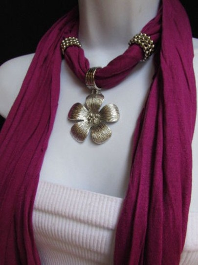 Other Women Purple Fashion Soft Scarf Necklace Silvel Metal Flower Pendant