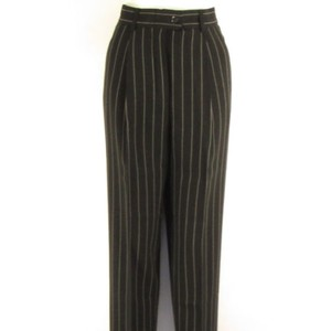Escada Women Dark Gray Wool Winter Classic White Stripes Trousers 38 Pants