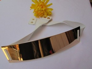 Other Women Waist Hip Gold Metal Plate Fashion Belt Stretch True White 28-40