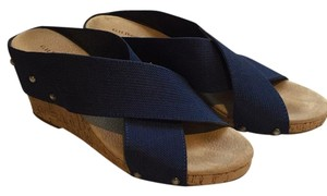 G.H. Bass & Co. Preppy Nautical Strappy Studded Navy Wedges