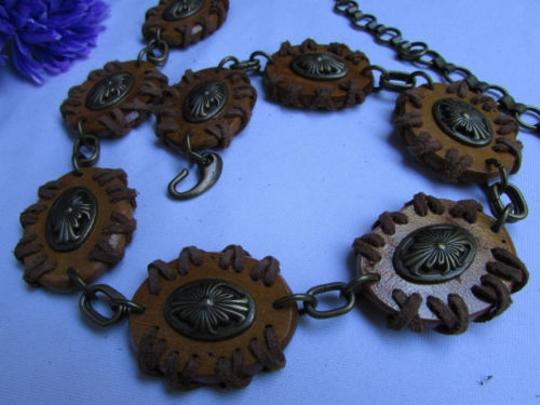 Other Women Real Brown Round Wood Fashion Belt Antique Gold Chains 27-40