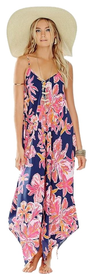 f4a6033b696bc5 Lilly Pulitzer Bright Navy Via Sunny Rylan Handkerchief Hemline Long ...