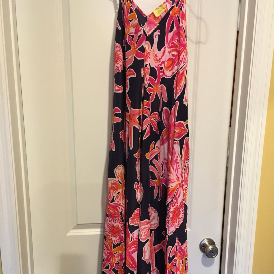 a54b362531a9e5 Lilly Pulitzer Bright Navy Via Sunny Rylan Handkerchief Hemline Long Casual  Maxi Dress Size 0 (XS) - Tradesy