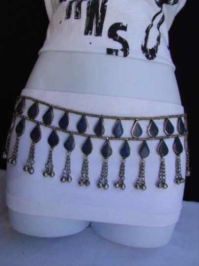 Other Women Fashion Antique Silver Trendy Chains Blue Beads Metal Belt 32-35