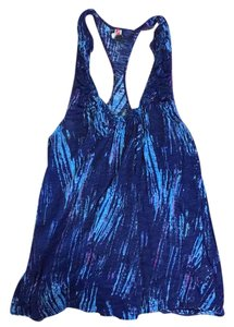 Free People Ruffle Racer-back Flirty Blue Top Blue/multi