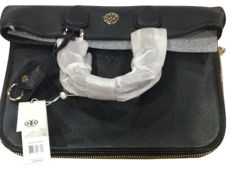 8b6acd10420 Tory Burch Robinson Pebbled Fold Over Black Leather Messenger Bag ...