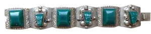 Other Vintage Bracelet Aztec Green Shield Design Sterling 925 Taxco