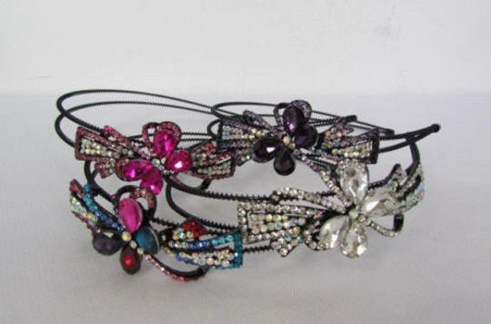 Other Women Fashion Headband Butterfly Charm Silver Pink Purple Multi Rhinestones