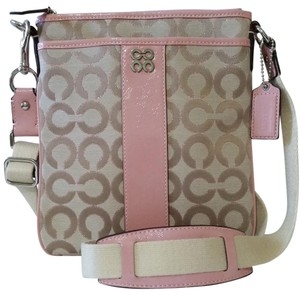 Coach Pink/Khaki/Silver Messenger Bag