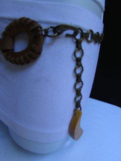 Other Women Real Brown Rings Wood Fashion Belt Antique Gold Flowers 26-40 S-m-l