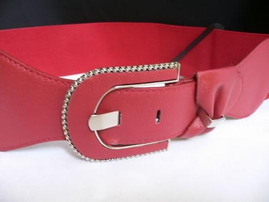 Other Women Bright Red Faux Leather Fashion Belt Metal Bow Buckle Fits