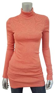 Michael Stars Long Sleeve Shimmer Metallic Top Orange