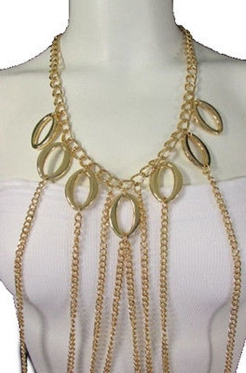Other Women Gold Chains Waves Layered Metal Body Jewelry Trendy Party Necklace