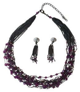 Other Purple Beaded Necklace and Earrings Set