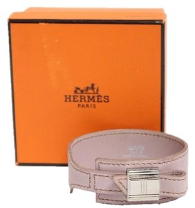Hermès Muted Pink Leather Cuff Bracelet Palladium Hardware