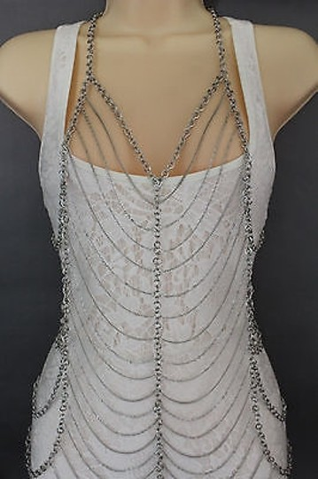 Other Women Silver Body Chain Long Dress Body Jewelry Long Necklace Multi Strants