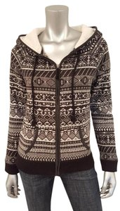 American Eagle Outfitters Hooded Zip Nordic Black White Jacket