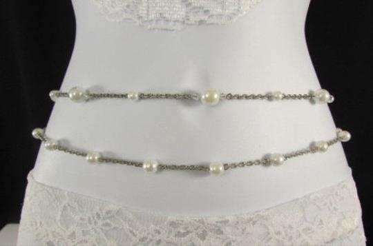 Other Women Silver Chains Fashion Belt Hip High Waist Imitation Pearl 30-43
