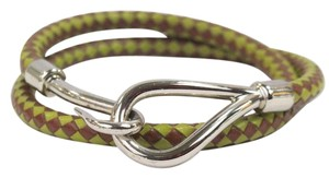 Hermès Woven Leather Bracelet Olive Green Tan Palladium Size Small