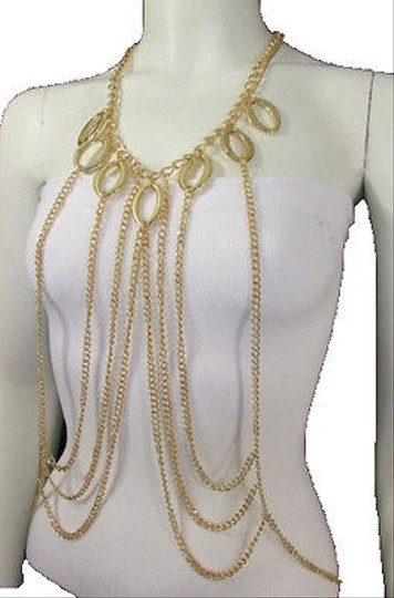 Other Women Gold Multi Metal Full Body Chunky Layered Chains Jewelry Necklace