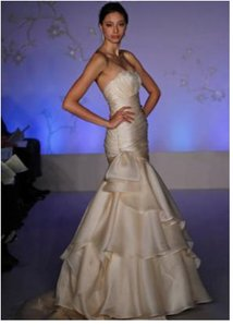 Alvina Valenta Mermaid #9058 Ruched Organza Sz 8/10 Wedding Dress