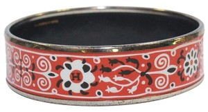 Hermès Bangle Bracelet Red Black White Floral Palladium