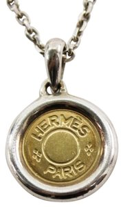 Hermès 18k Gold Coin Necklace Sterling Silver Setting & Chain