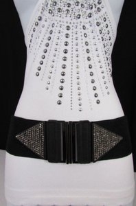 Other Women Black Elastic Low Hip High Waist Fashion Belt Rhinestones 27-35