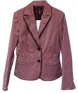 Laundry by Shelli Segal Fully Lined Ribbon Trim Pleated Pink/Brown Blazer