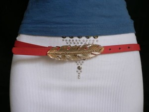 Other Women Hip High Waist Thin Pink Fashion Narrow Belt Big Gold Feather Buckle